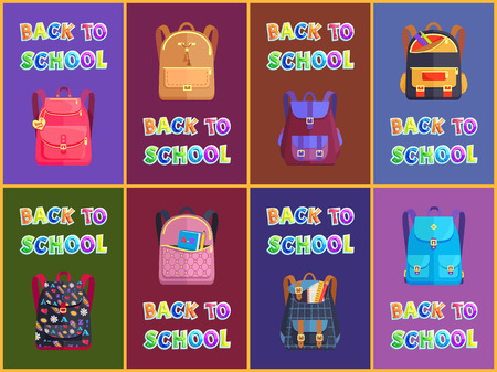 Fabric and Leather Schoolbags for Boys and Girls Stock Photo