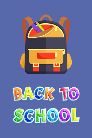 Back to School Poster with Backpack and Stationery Stock Photo