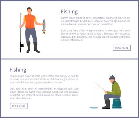 Fishing Posters Set Headlines Vector Illustration