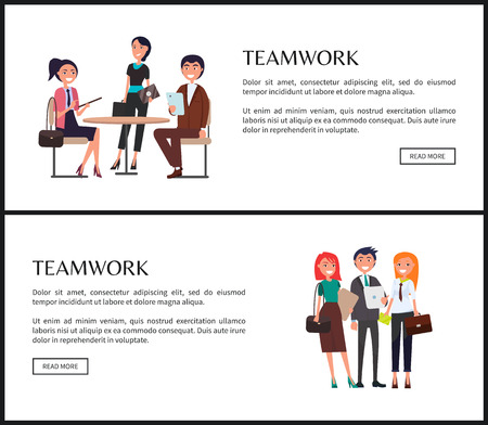 Teamwork Promo Poster with Young Employees Set Stock Photo