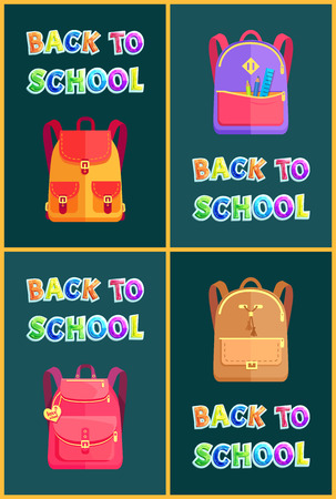 Back to School Bags Rucksacks and Satchels Poster Banco de Imagens - 111414605