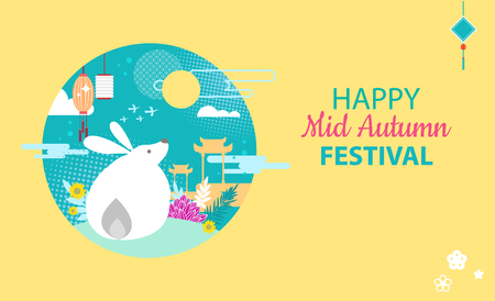 Tarjeta del Festival del Medio Otoño con Mythical Moon Rabbit