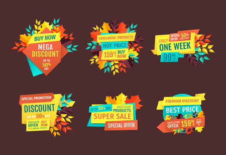 Discount and Sale Logos Set with Autumn Leaves