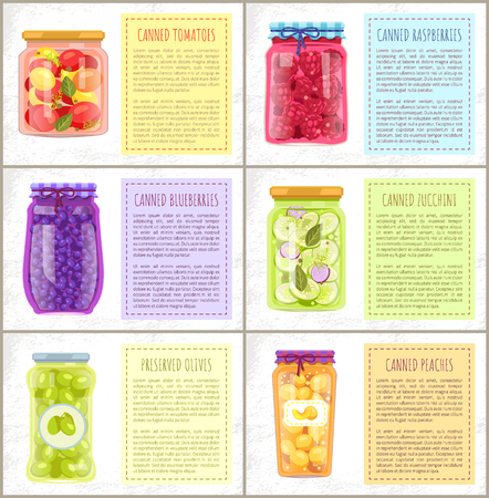 Canned tomatoes and zucchini veggie, raspberries and blueberries, peaches and preserved green olives. Vector conservation bottles and text boxes.