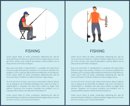 Fishing Man Set of Posters Vector Illustration Foto de archivo - 111414622
