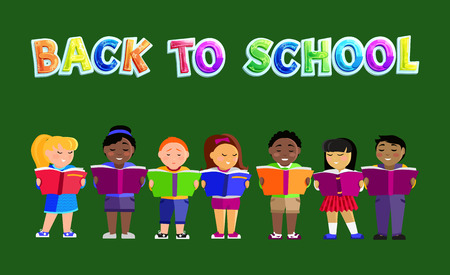 Back to School Poster Kids Vector Illustration Stock Photo