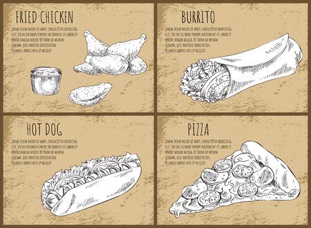Fried Chicken Mexican Burrito Vector Illustration