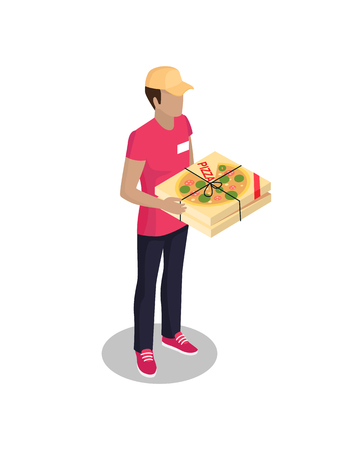 Delivery Man with Pizza Box Vector Illustration