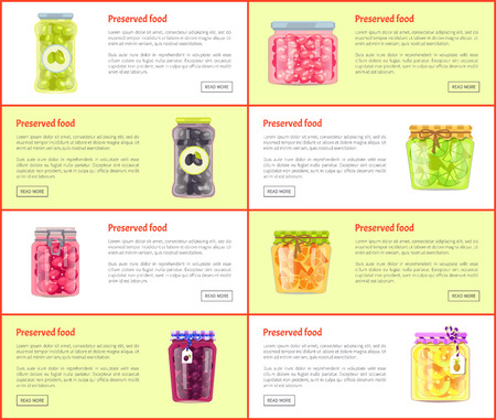 Preserved Food Banners Set of Canned Products Фото со стока