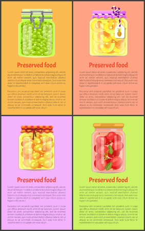 Preserved Food Posters with Fruits and Vegetables Фото со стока - 111414637
