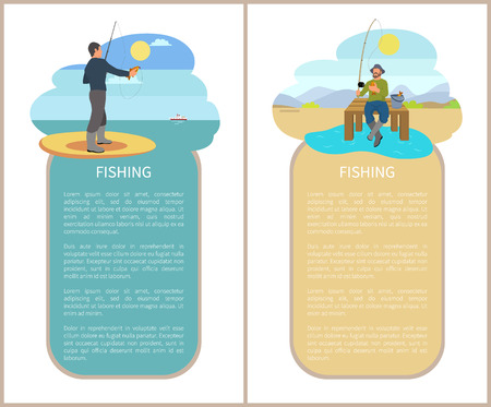 Fishing Man Fishery Posters Vector Illustration