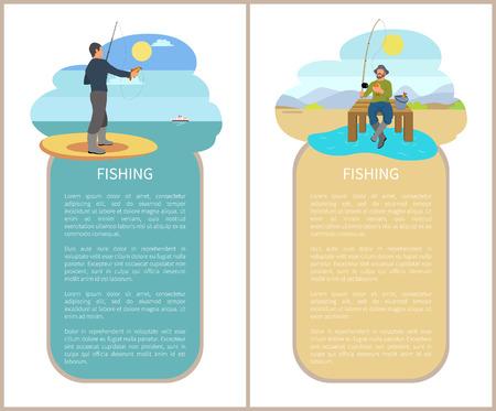 Fishing Man Fishery Posters Vector Illustration