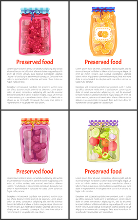 Preserved Food Posters Set of Fruit or Vegetables Stok Fotoğraf - 111414648