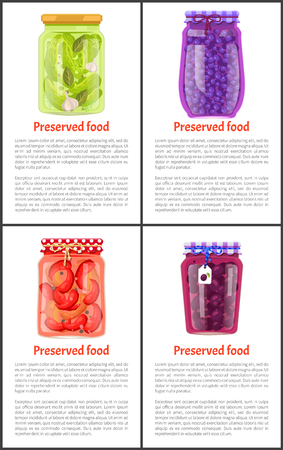 Preserved Food in Jars Promo Posters with Text Set Stok Fotoğraf - 111414657