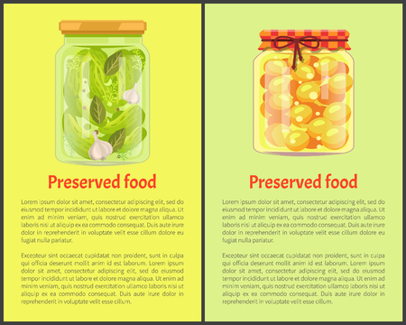 Preserved food posters, vegetable and fruit. Cucumbers with garlic, sweet ripe apricots in juice inside jars promo banners vector illustrations set. Иллюстрация