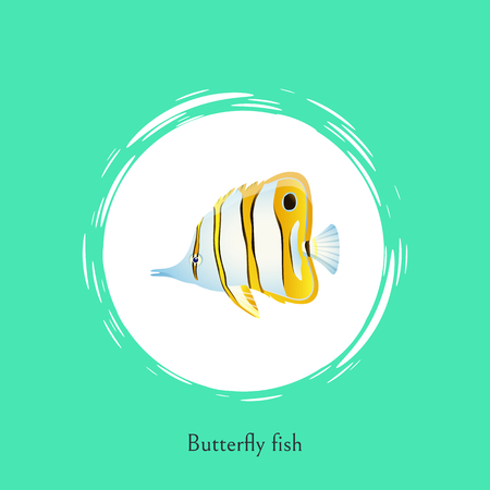Butterfly fish green title poster. Exotic fish of unusual shape and coloring. Marine animal with long nose and striped pattern vector illustration Illustration
