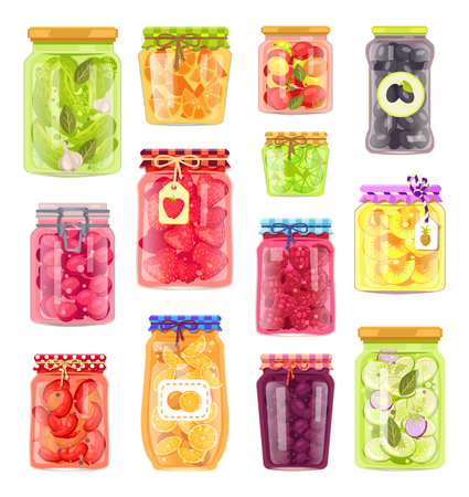 Preserved vegetables and fruits in containers set. Jars with pickled cucumbers and tomatoes. Plum peach and blueberry conservation isolated vector Ilustrace