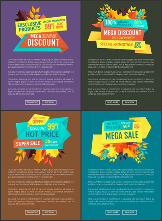 Mega discount hot price set exclusive offer. Posters with text sample and banners. Super deal special promotion autumnal deal autumn price drop vector