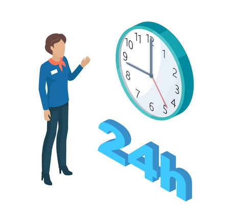 Manager Person and Clock Set Vector Illustration