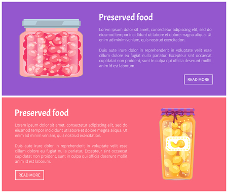Preserved Food Banners Set with Fruit in Jars
