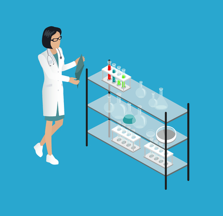 Medical Worker Doctor in Lab Vector Illustration Stock Photo