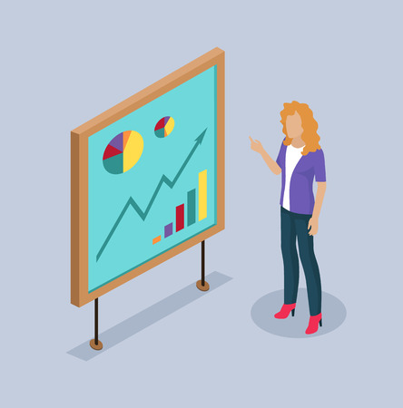 Woman Presenter by Whiteboard Vector Illustration