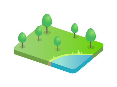 Tree on Green Field and Pond Vector Illustration