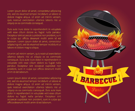 Hot BBQ barbeque party poster vector. Grilling sausages and frankfurters on grill griddle. Emblem with text on ribbon with forks. Brazier with food