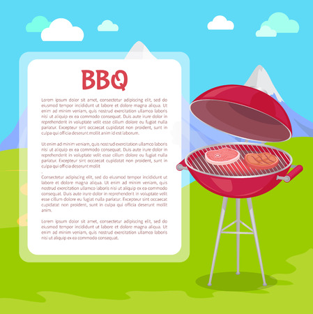 BBQ poster with text and nature vector. Grilling grid with roasting meat beefsteaks and pork slices. Mountains grass and clear air barbeque picnic
