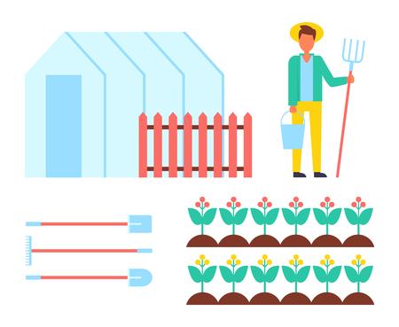 Ensemble d'icônes d'agriculteur et de pique. Serre de matériel agricole serre orangerie avec clôture et homme travaillant avec des icônes vectorielles isolées de pique hey-fork