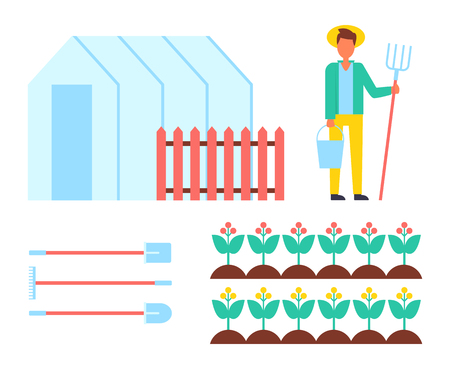 Farmer man and spades icons set. Farming equipment greenhouse orangery hothouse with fence and working male with spades hey-fork isolated vector icons