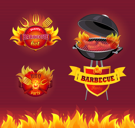 Party Barbecue Hot BBQ Set Vector Illustration