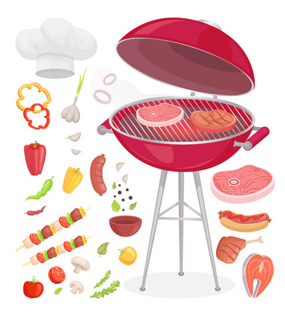 Beefsteak grilling meat isolated icons vector set. Grille grid with beef and pork roasted chicken with veggies. Vegetables condiments and chefs hat