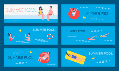 Summer pool water activities set of posters. Swimming basin people on vacations lying in lifebuoy and saving ring. Couple playing game, swimmers vector Illustration