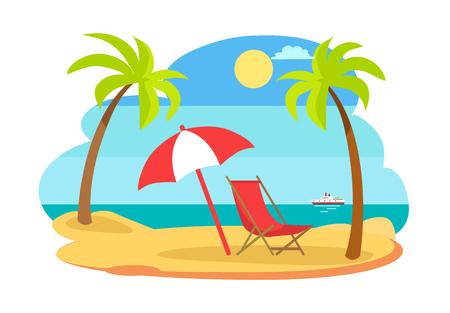 Seaside Seashore Sunny Beach Vector Illustration Stock Photo