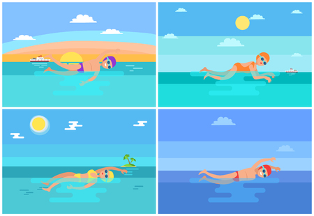 Breaststroke Butterfly Styles Vector Illustration