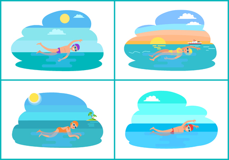 People Swimming in Pond Cartoon Vector Badge.