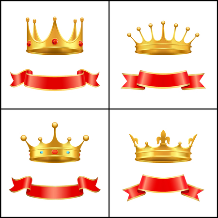 Crown Regal Power and Banner Vector Illustration Stock Vector - 111414709