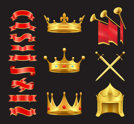 Ribbon and Crowns Swords Set Vector Illustration Иллюстрация