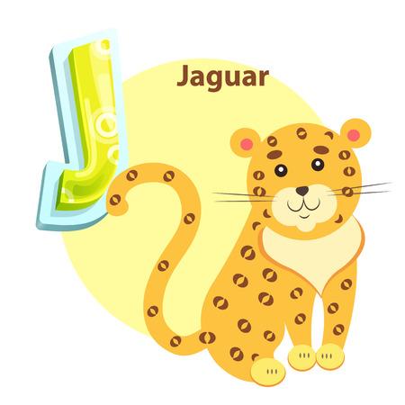 Jaguar on Children Alphabet Vector Illustration