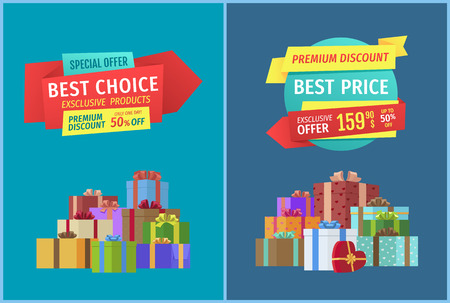 Hot price and super offer set with banners and text. Promo posters and gifts heart shaped present box with ribbon. Best choice only one day vector Illusztráció