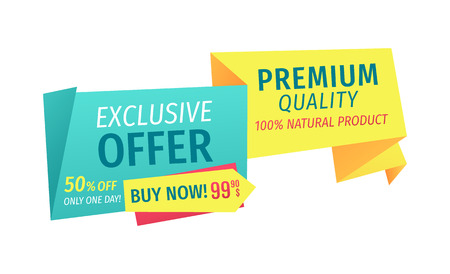 Exclusive offer only one day but now. Hundred percent natural product assurance of selling shop. Premium quality of goods sold isolated on vector Иллюстрация