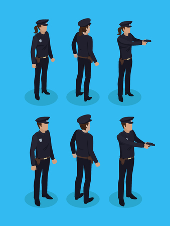 Police officers in uniform, working concept icons