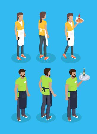 Waitress and Waiter Icons Set Vector Illustration