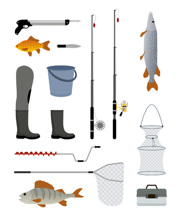 Fishing Manufacturers Icon Set Vector Illustration  イラスト・ベクター素材