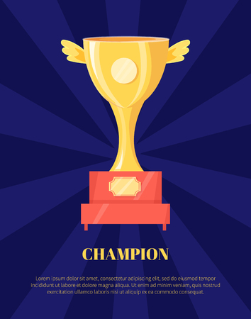 Champion Golden Trophy Cup Vector Illustration