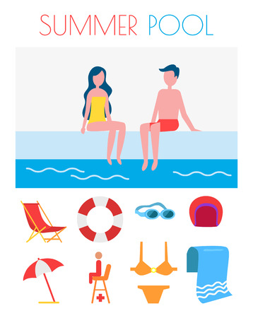Summer Pool Poster with Icons Vector Illustration