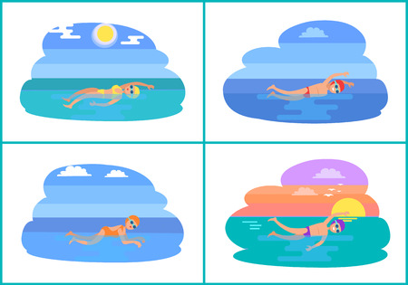 Backstroke and Butterfly Style Vector Illustration