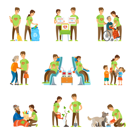 Volunteers and Charity Set Vector Illustration Banco de Imagens