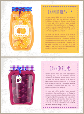 Canned Plums and Oranges in Glass Jar Scrap Labels